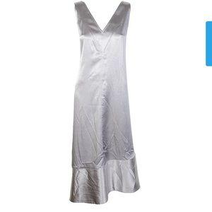 Anne Klein slip midi dress silver size 2